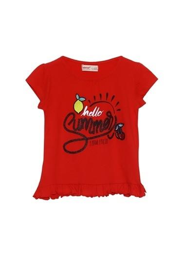 Silversun Kids Kız Çocuk Nakışlı Etek Ucu Fırfırlı Tişört Bk 215538 Kırmızı